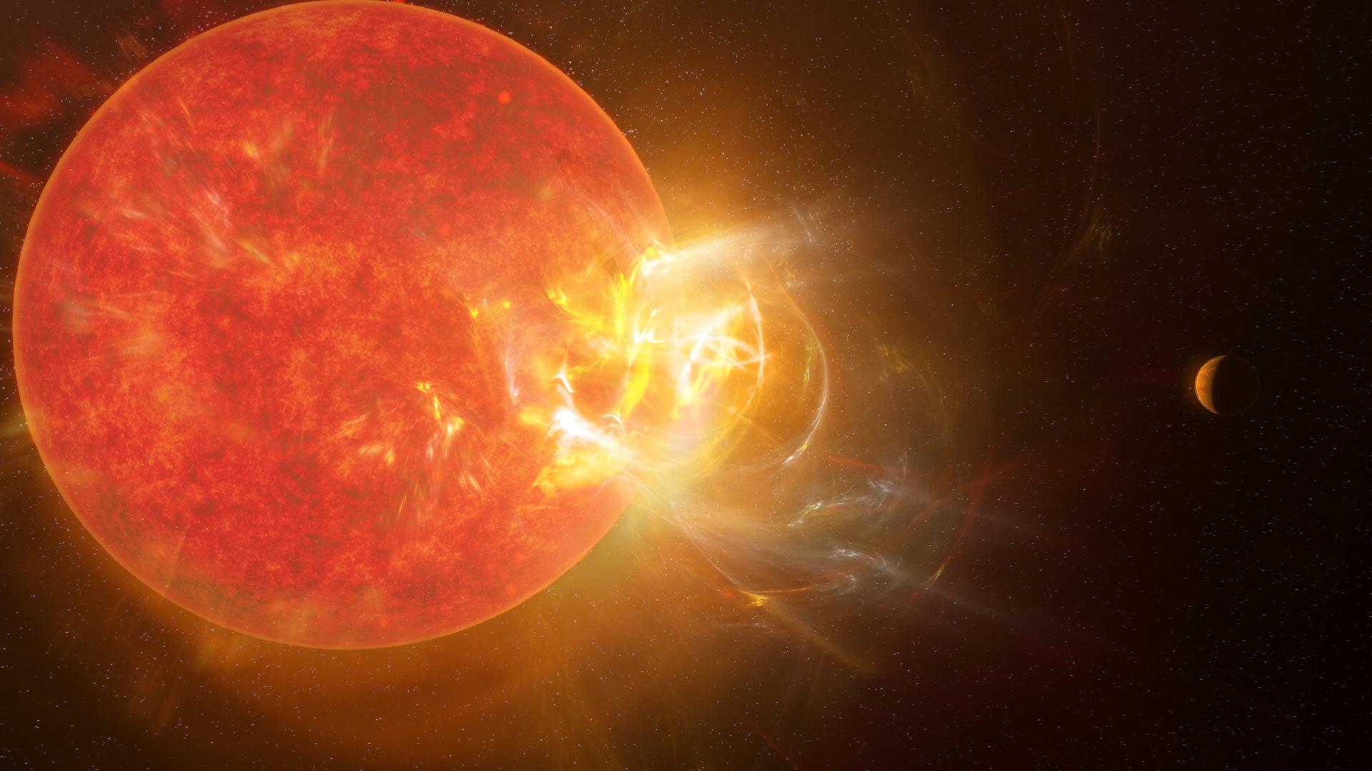 Recreación de una fulguración en Próxima Centauri