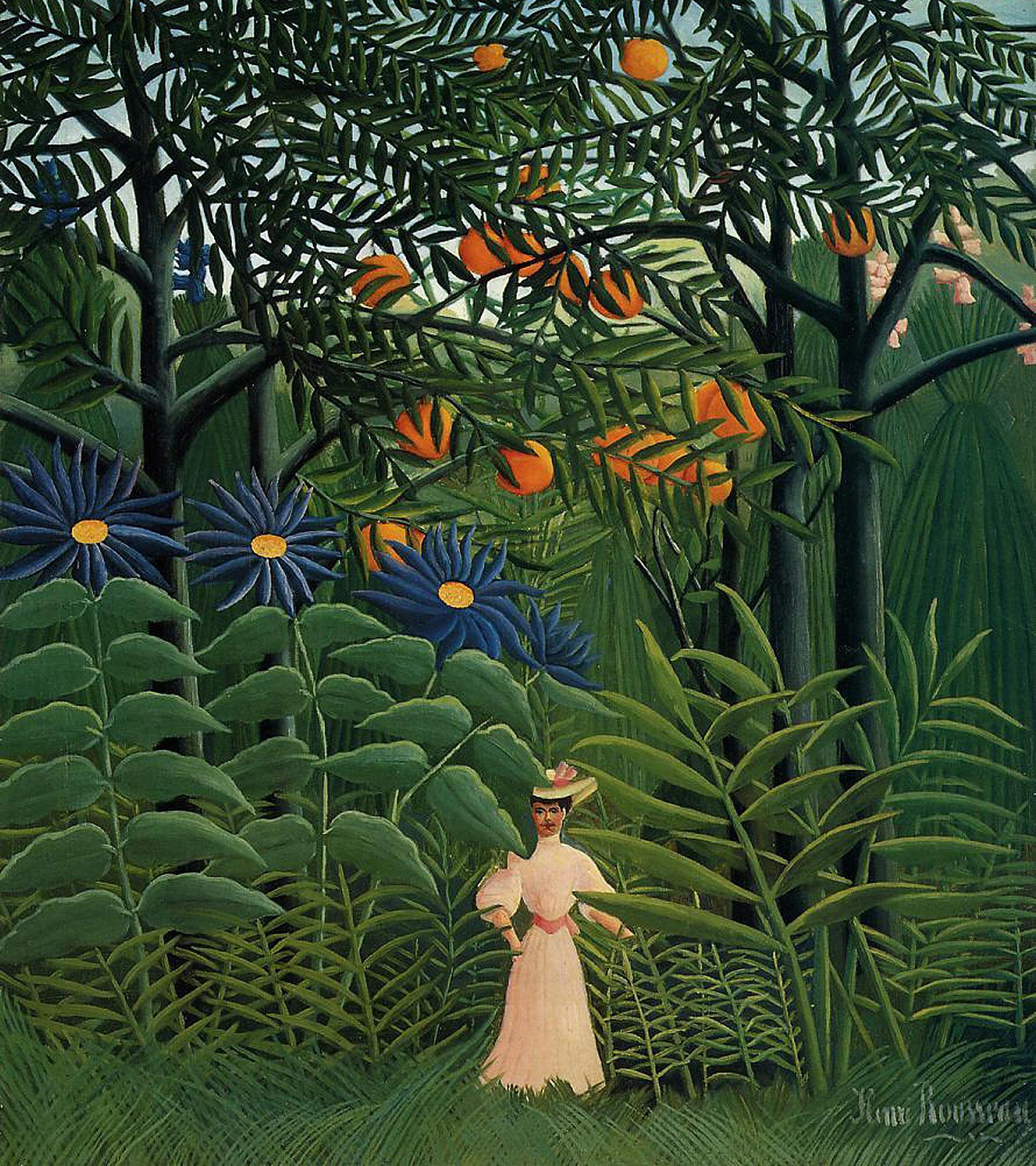 'Mujer caminando en un bosque exótico' (Henri Rousseau, 1905).