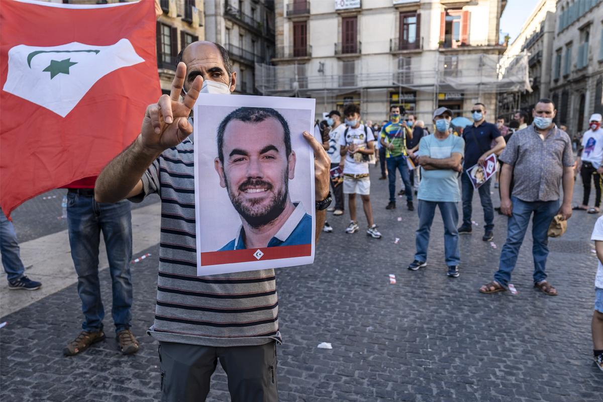 Manifestación de apoyo a Nasser Zefzafi en Barcelona en 2020.