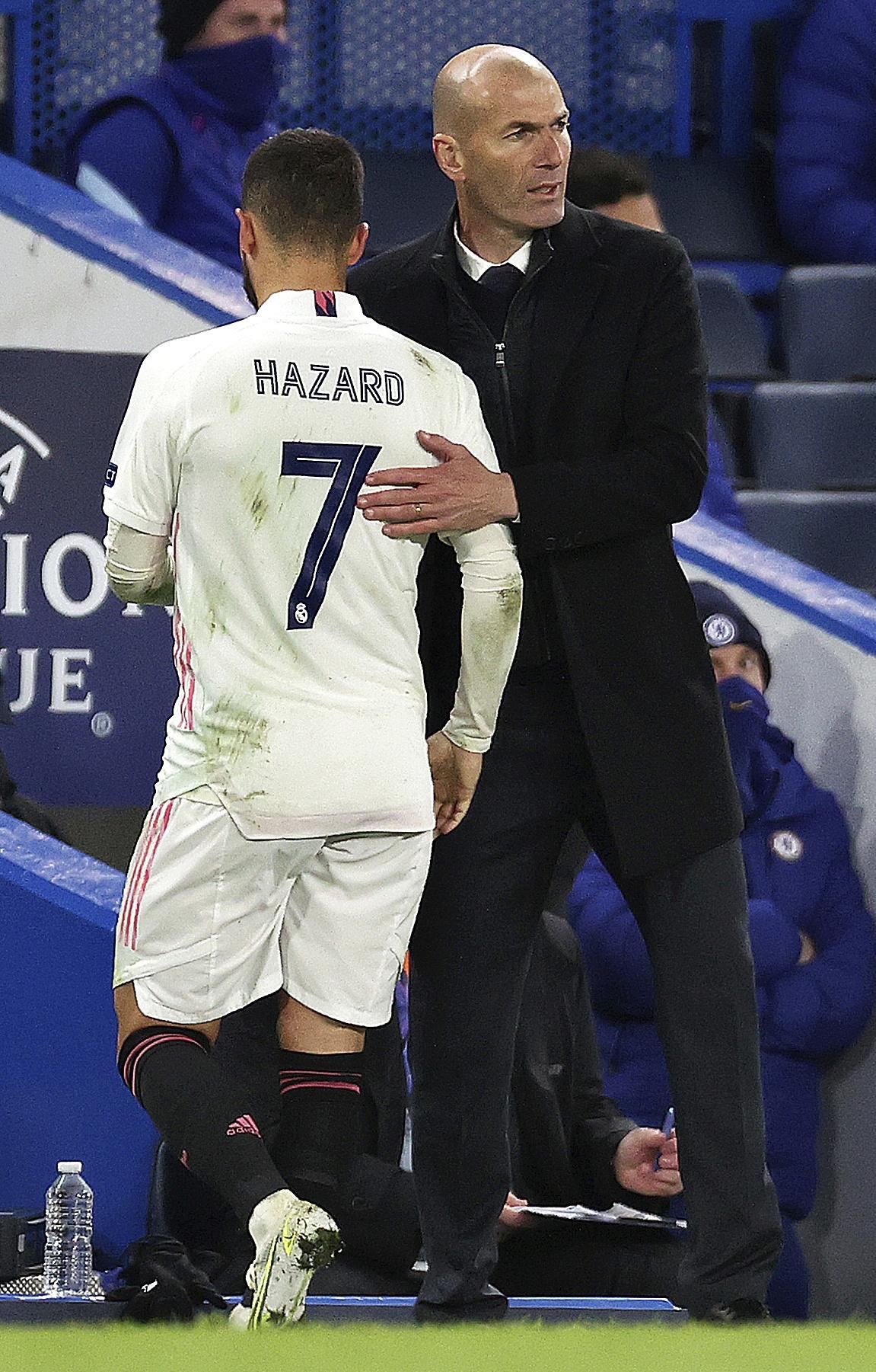 Hazard y Zidane, el miércoles en Londres.