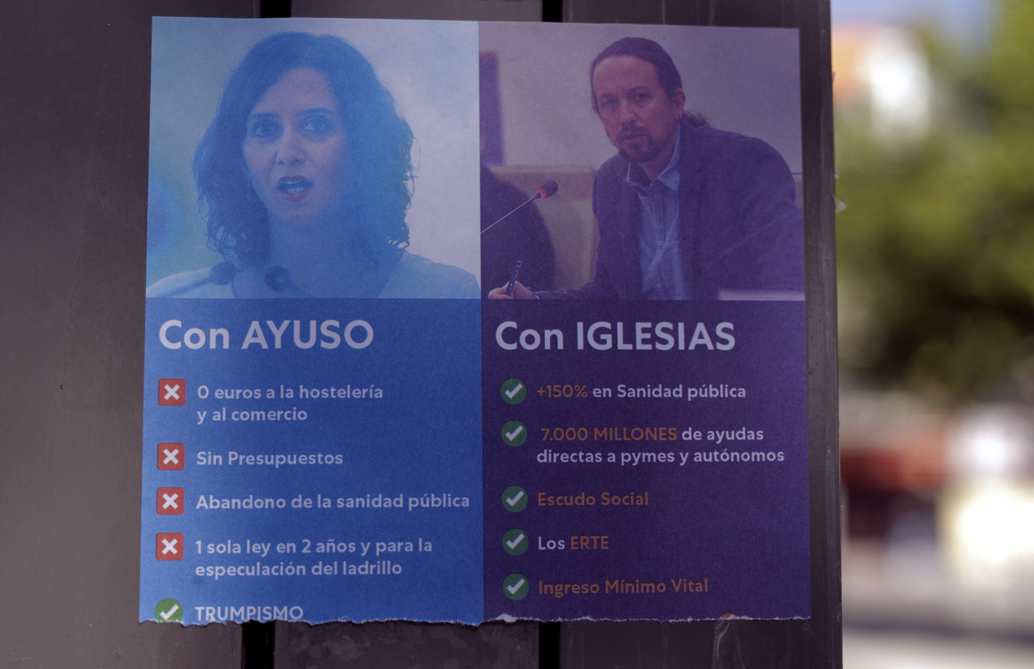 Un cartel en un barrio de Madrid.