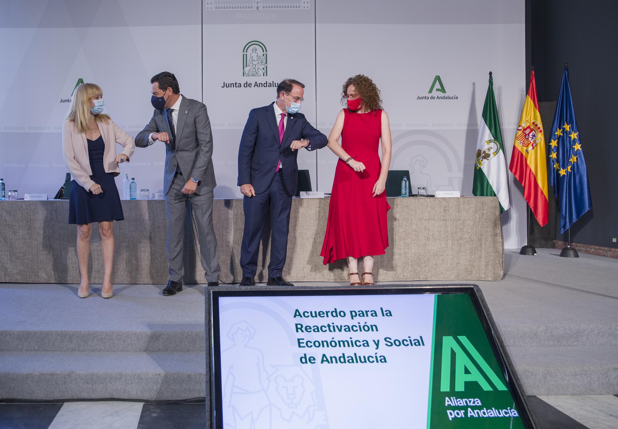 Carmen Castilla (UGT), Moreno, Javier González de Lara (CEA) y Nuria López (CCOO).