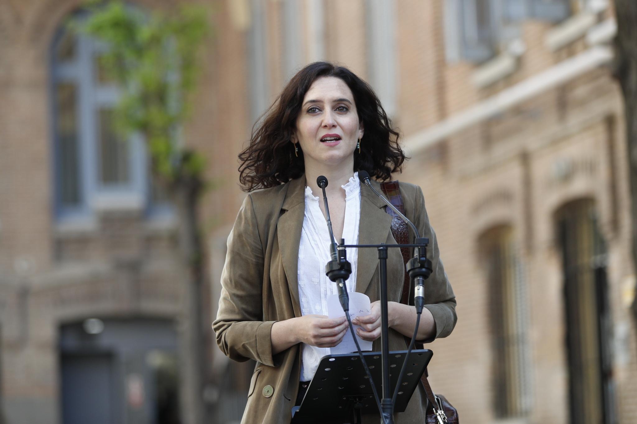 Isabel Díaz Ayuso en un acto durante la campaña electoral en la Comunidad de Madrid.