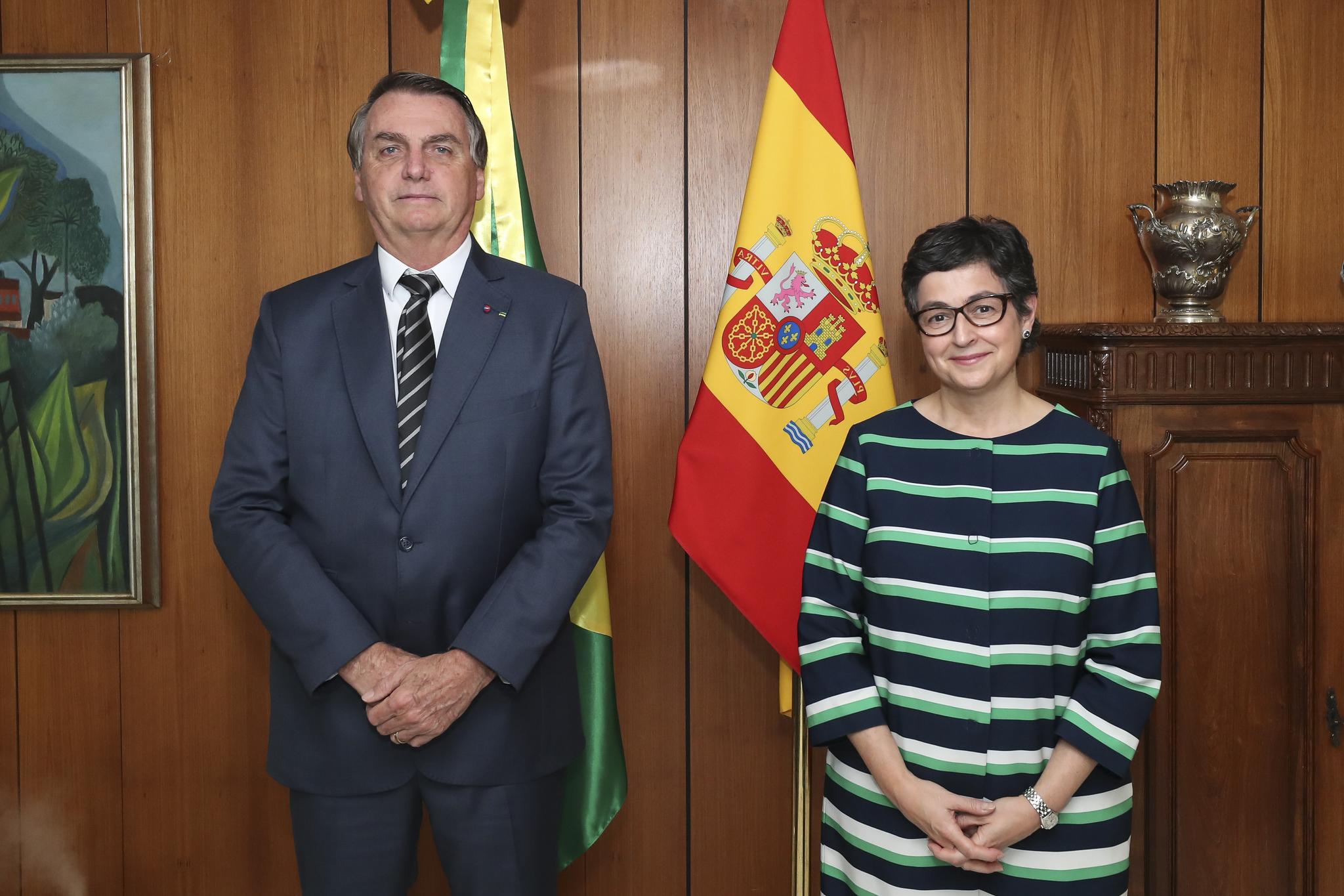 Jair Bolsonaro y Arancha González Laya.
