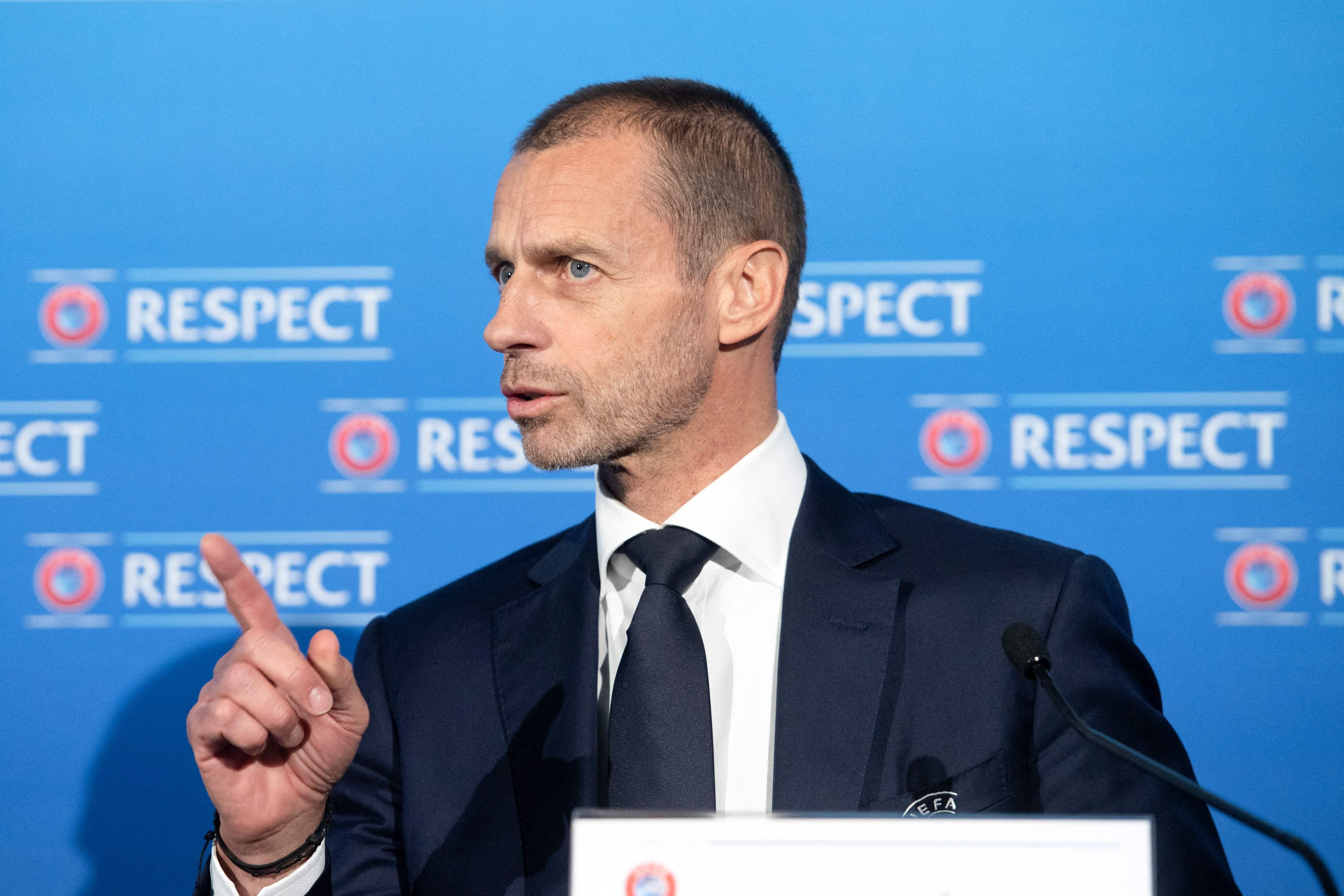 Aleksander Ceferin, durante un acto de la UEFA.