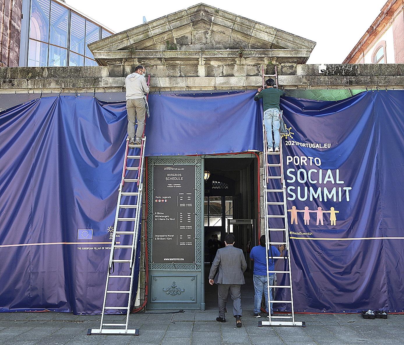 Preparativos de la Cumbre Social Europea en Oporto (Portugal).