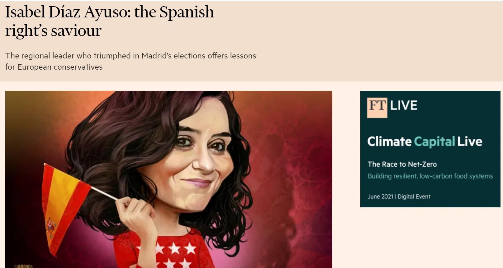 Edición digital del Financial Times con el artículo sobre Díaz Ayuso.