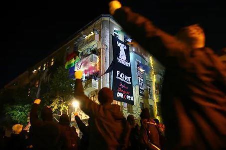 Manifestantes ultraderechistas, este sábado noche en Berlín.