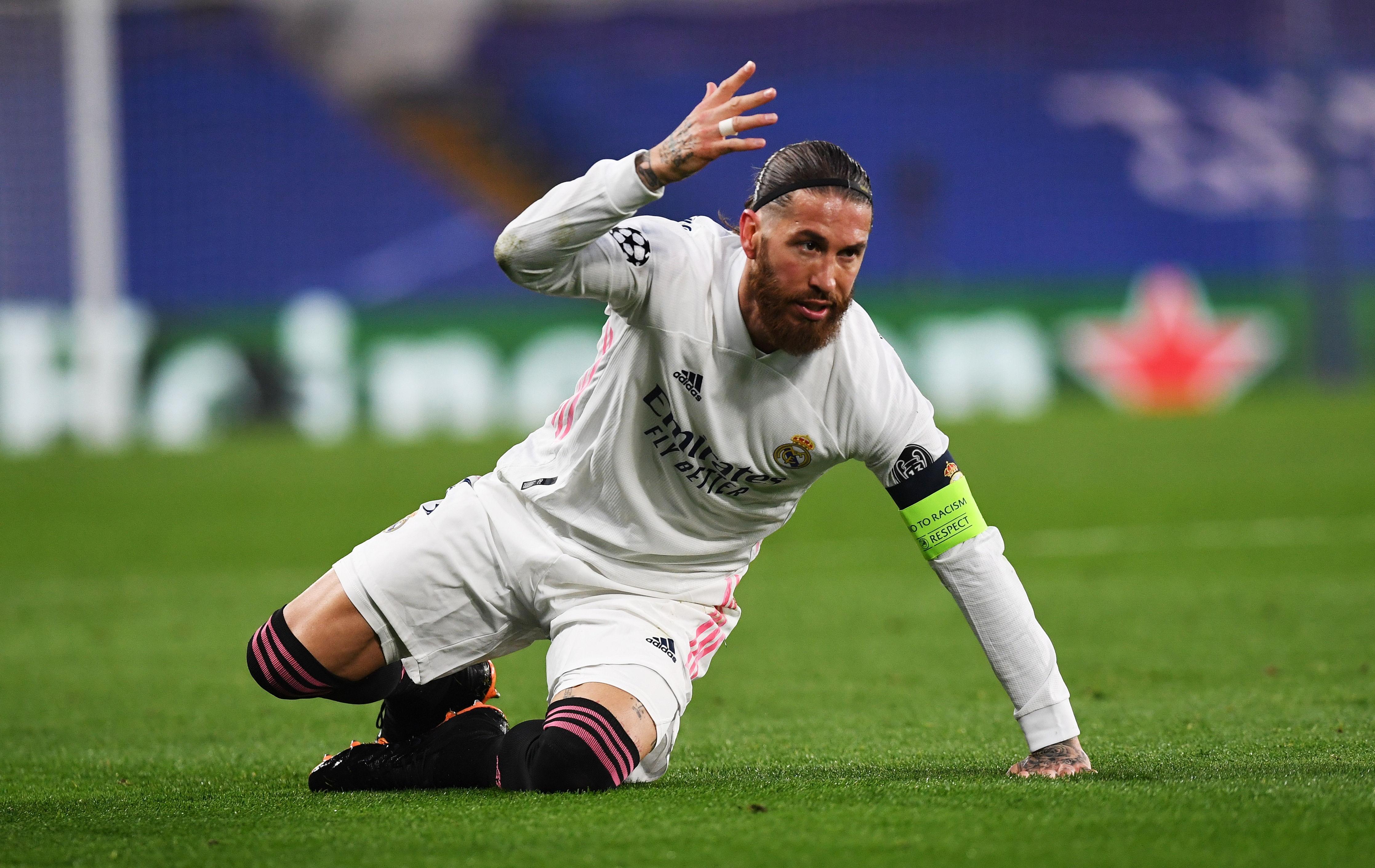Sergio Ramos, durante el partido ante el Chelsea.