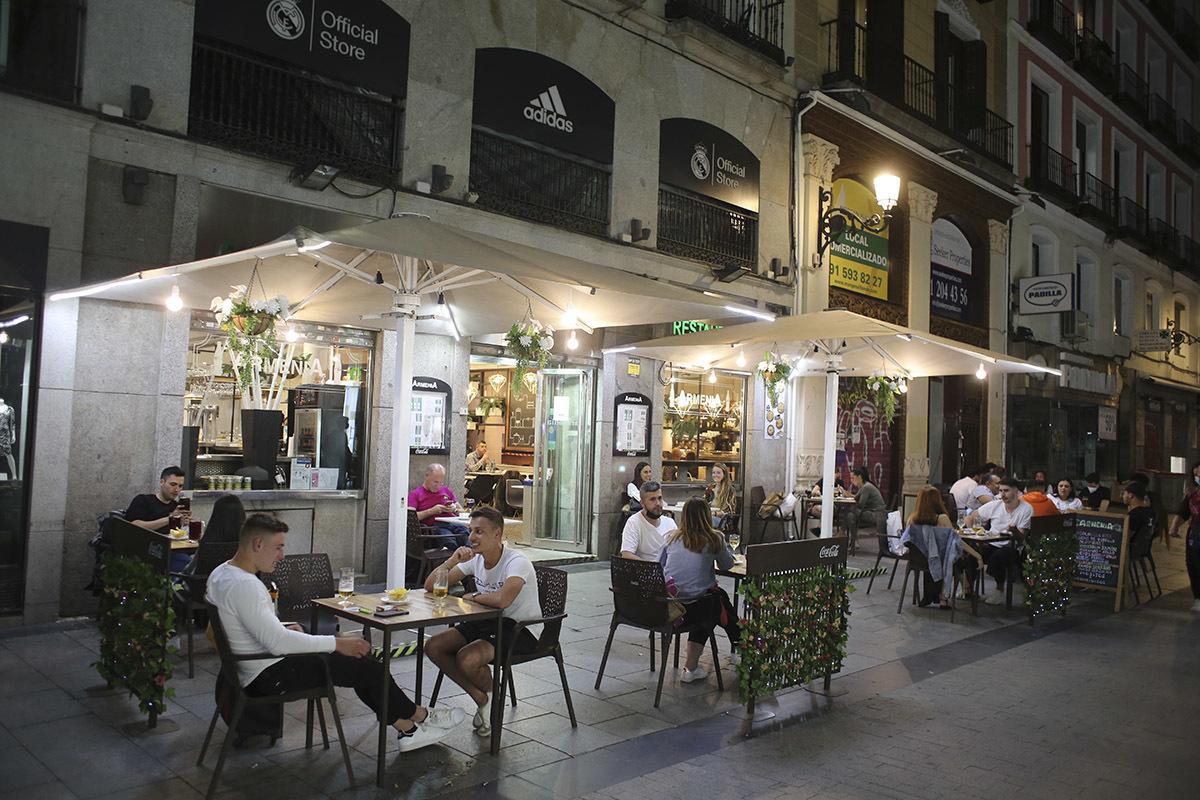 La terraza de un bar, en Madrid.