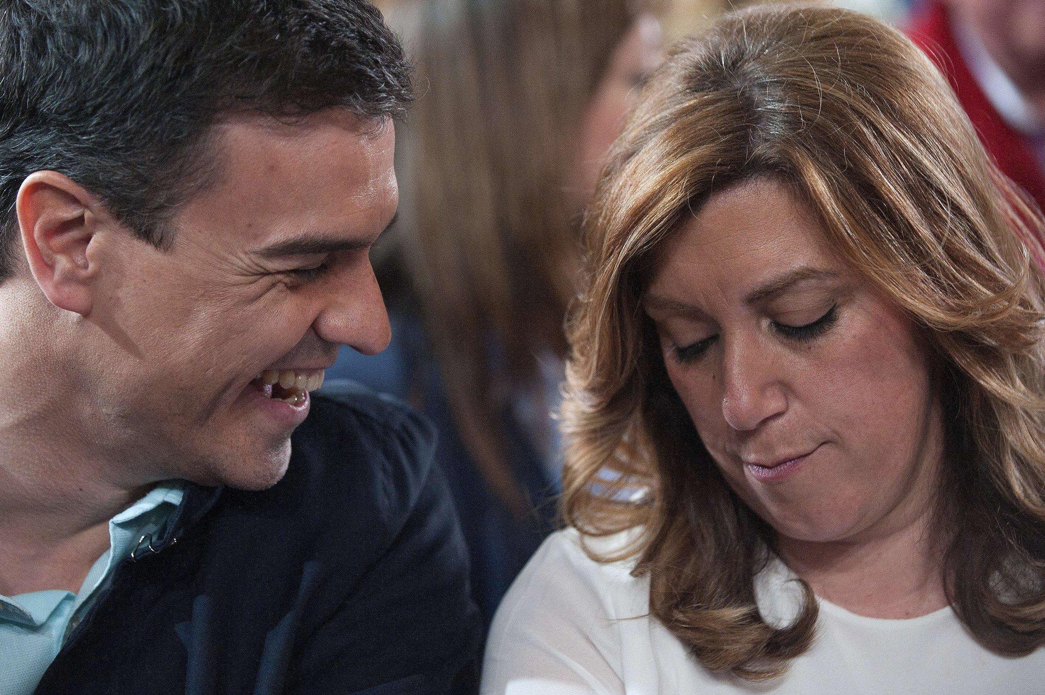 Pedro Sánchez y Susana Díaz, juntos en el mitin celebrado en Vícar (Almería) en marzo de 2015.