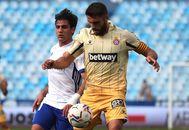 El capitán David López en el partido ante el Zaragoza