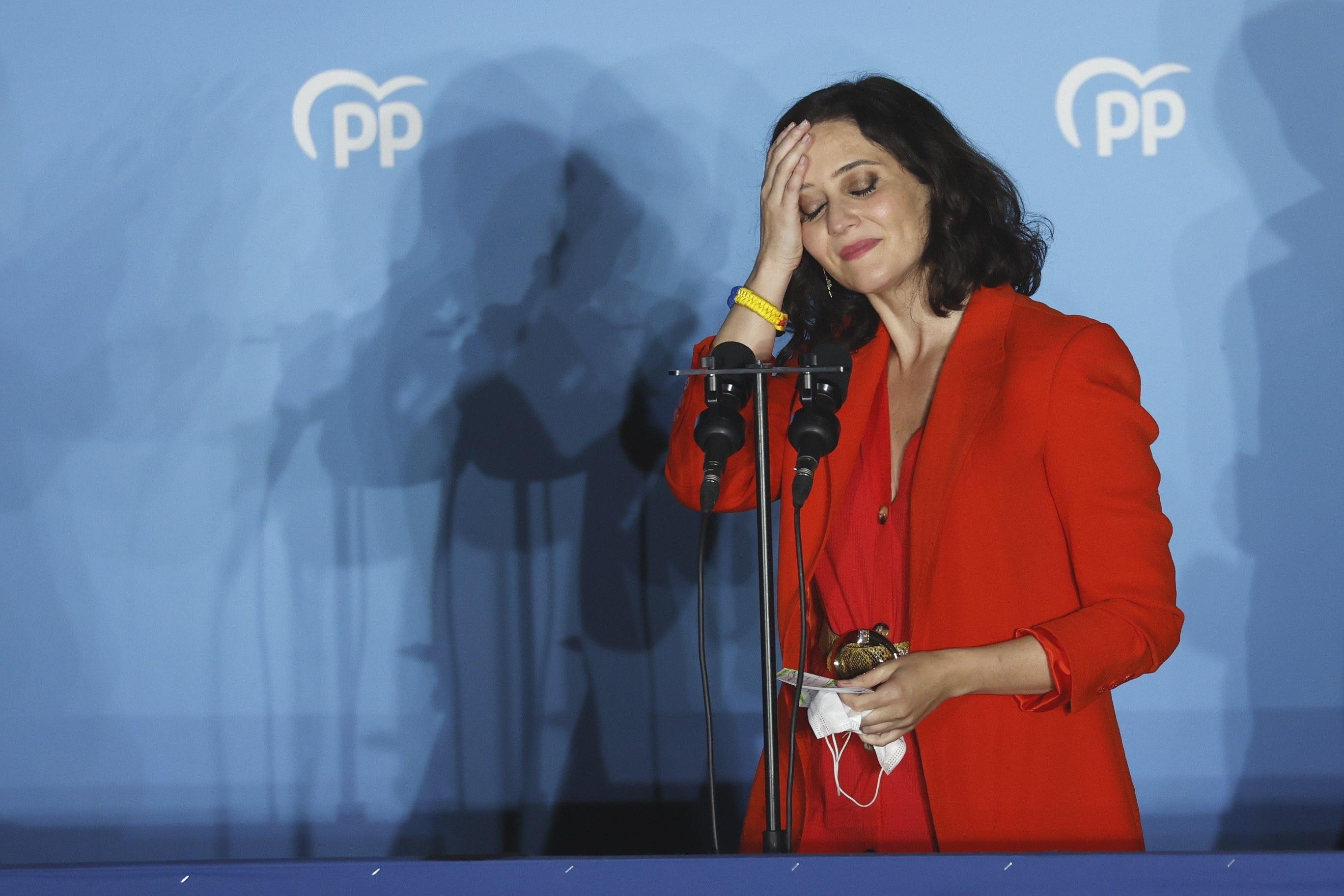 Isabel Díaz Ayuso, en la noche electoral.