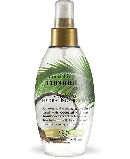 Leche de Coco, aceite hidratante ligero en spray, de Ogx.