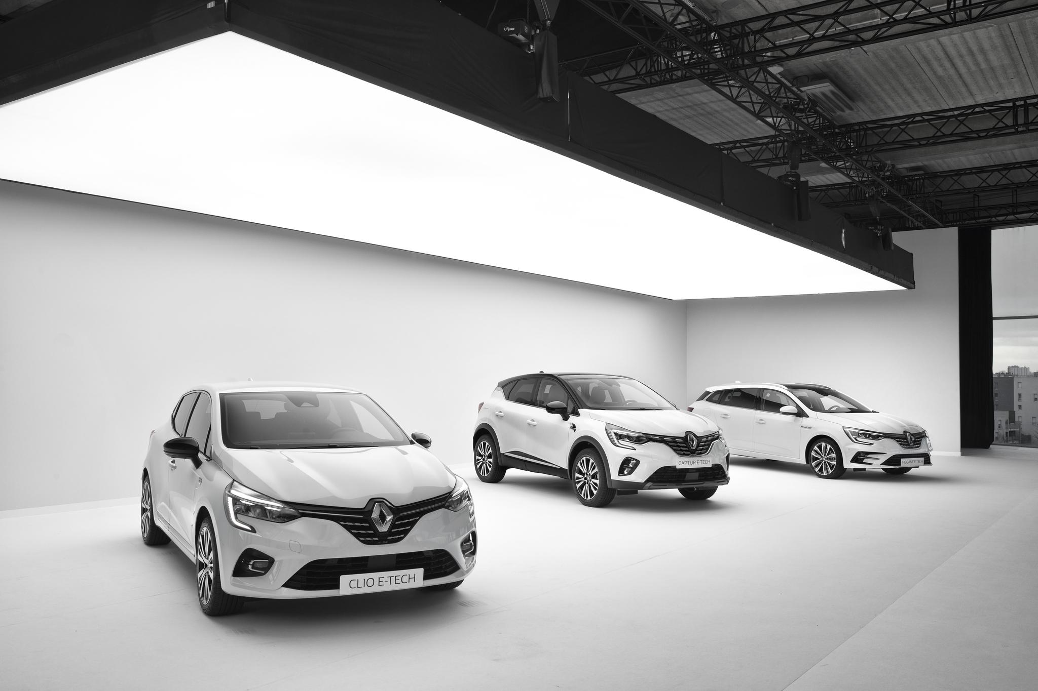 La gama electrificada (E-Tech) de Renault, con el Clio, el Captur y el Mégane.