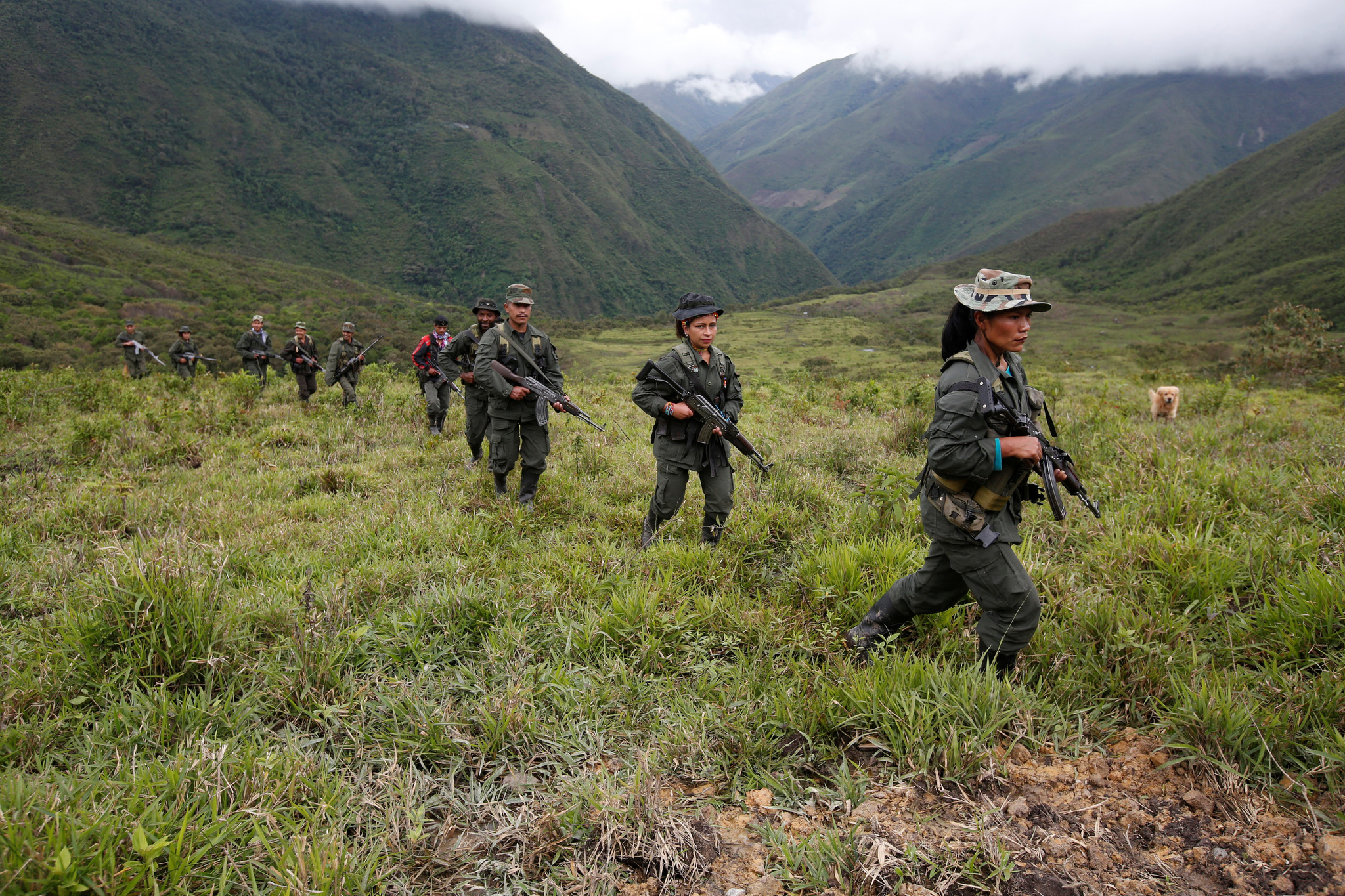 اعضای FARC در کلمبیا گشت می زنند.