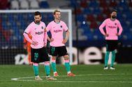 Los jugadores del Barça, durante el partido.