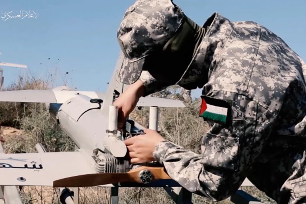 Imagen propagandística de Hamas donde se aprecian sus nuevos drones.