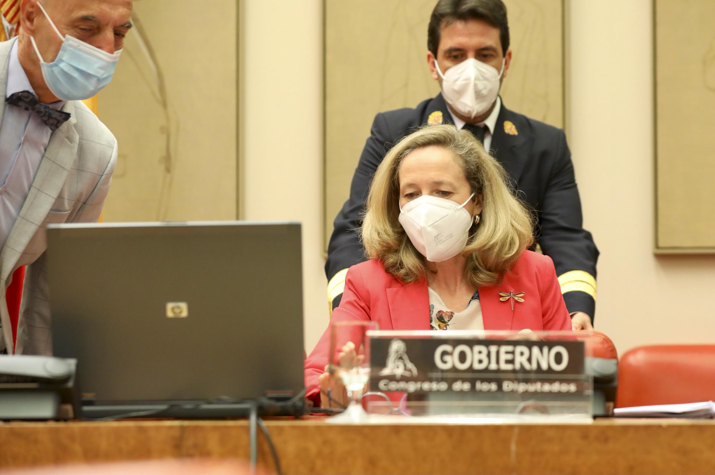 La vicepresidenta segunda, Nadia Calviño, en su comparecencia el pasado día 6 en el Congreso de los Diputados