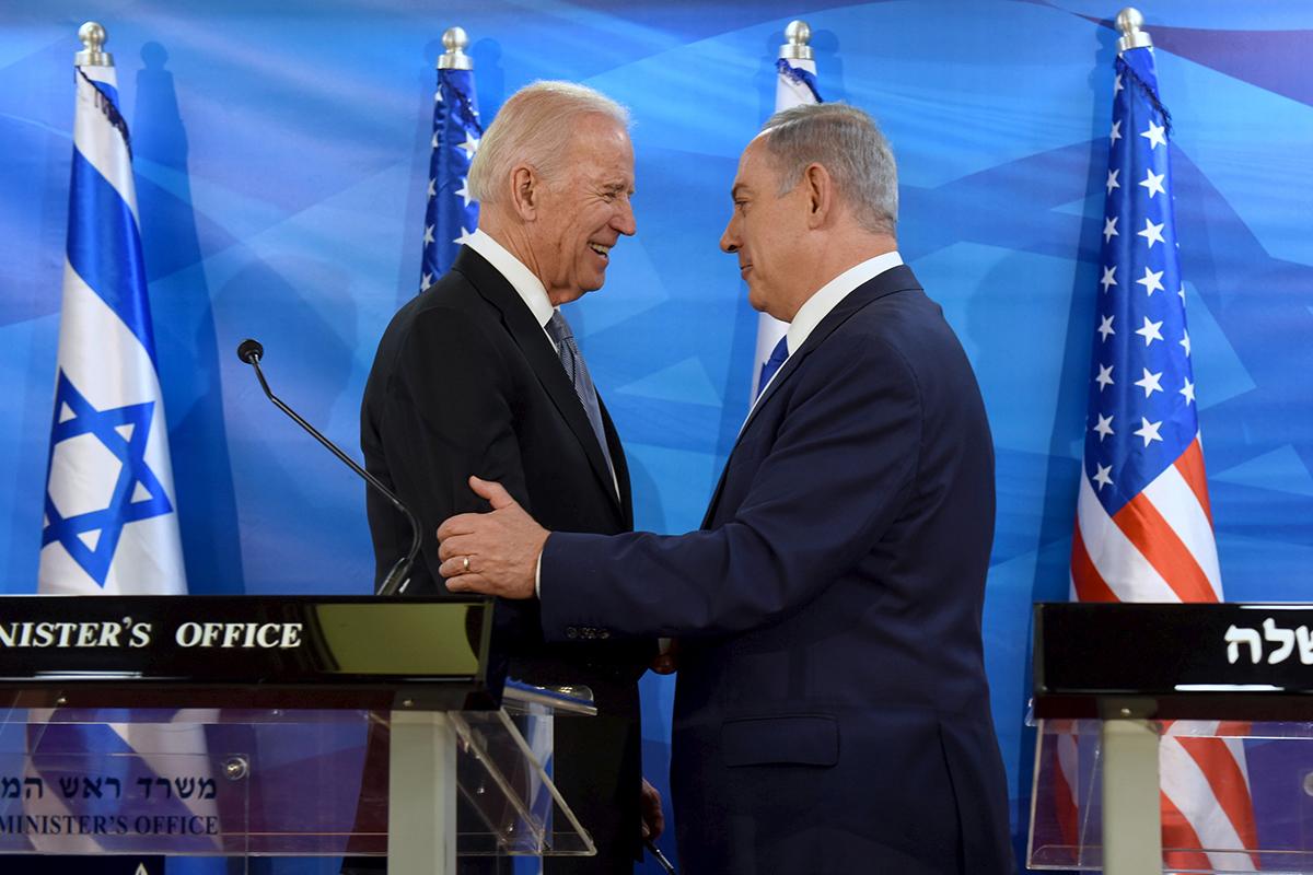 Joe Biden y Benjamin Netanyahu, en 2016.