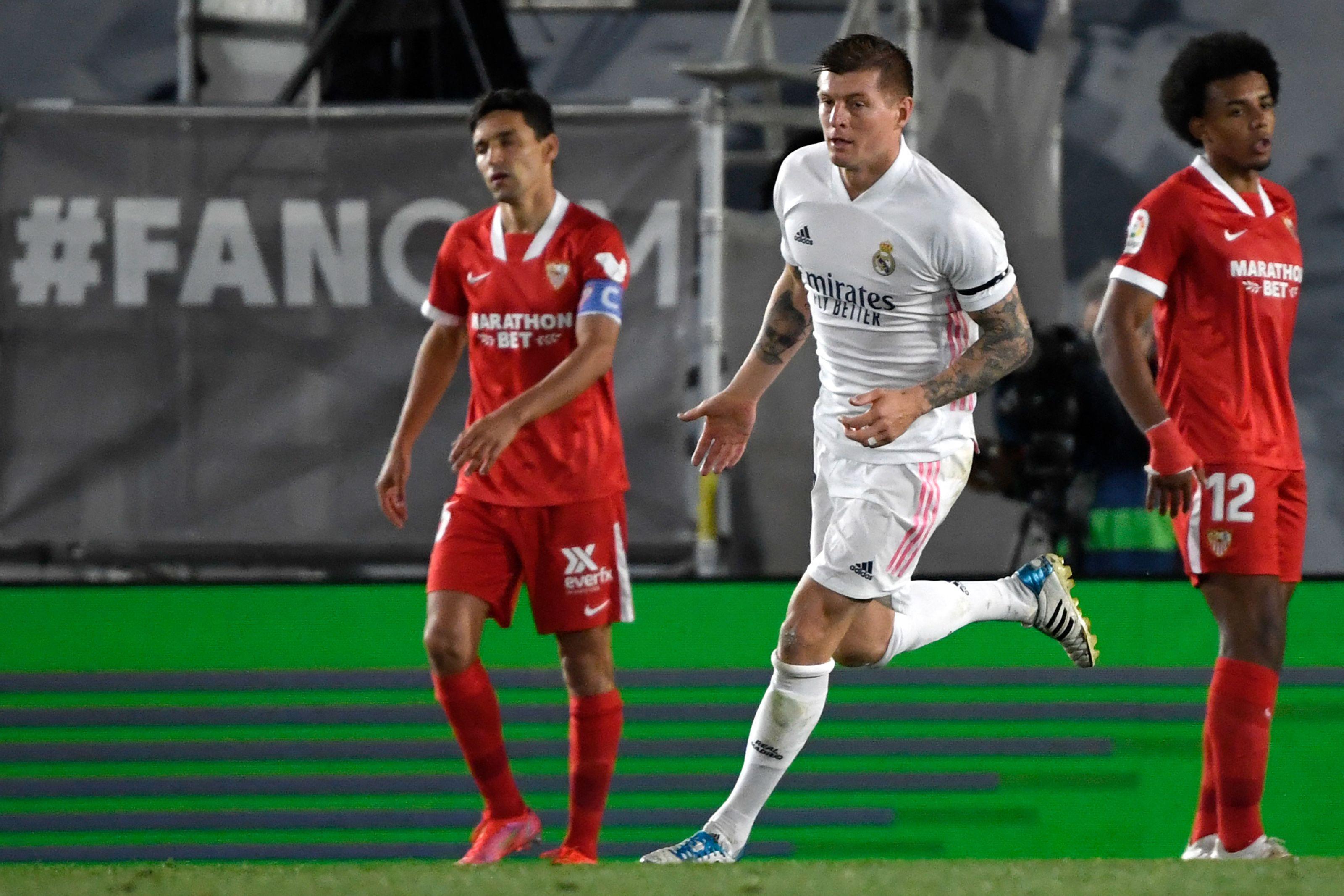 Kroos, tras la acción del 2-2 del Madrid ante el Sevilla.