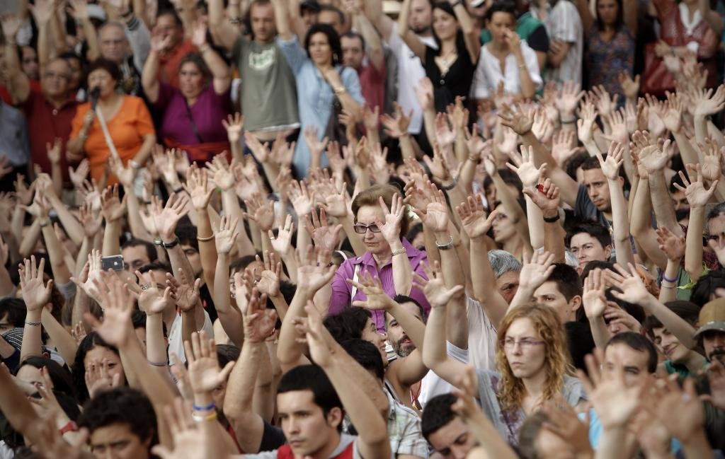 Imagen del 15-M en la Puerta del Sol de Madrid.