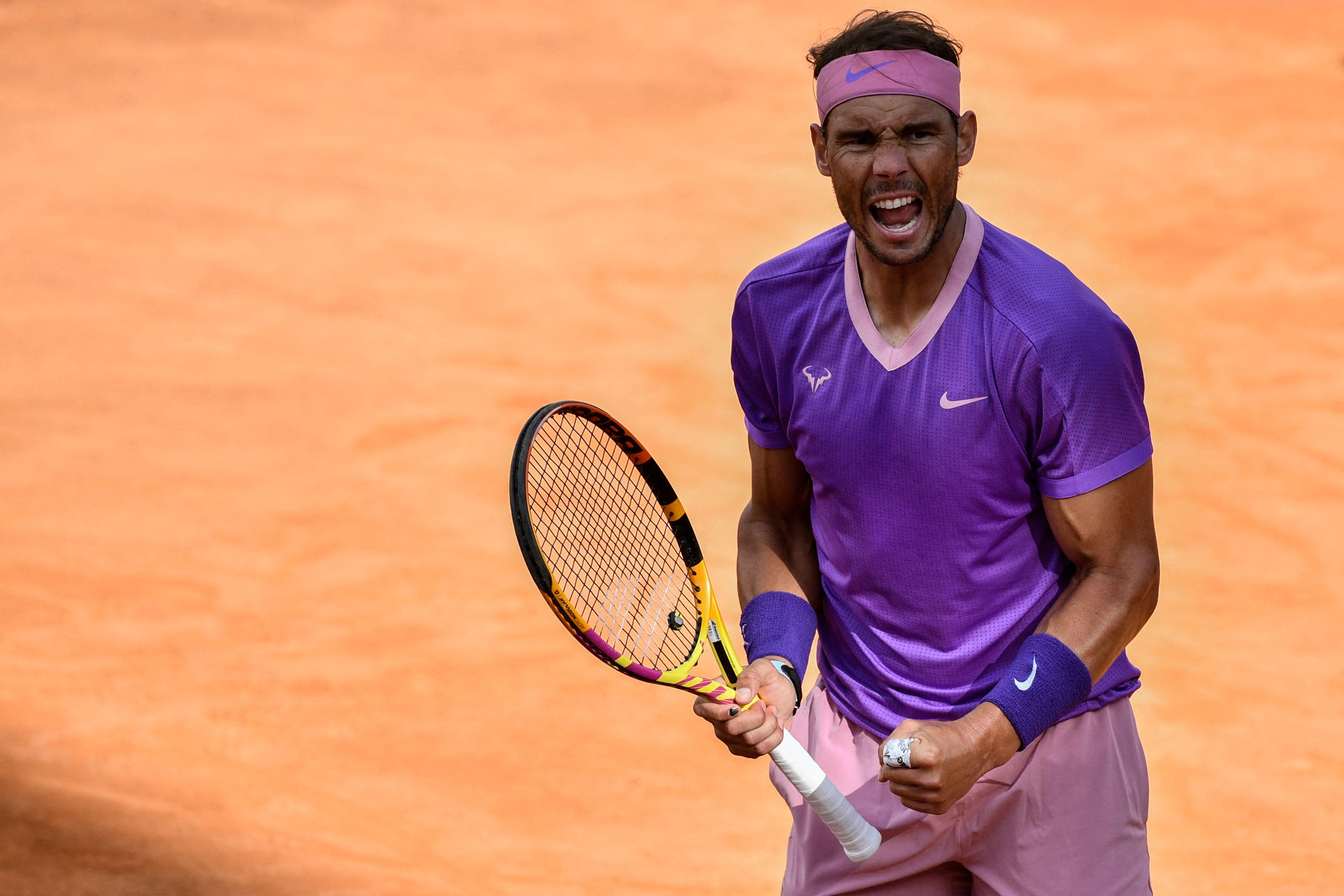 Rafa Nadal celebra su victoria ante Opelka en semifinales de Roma.