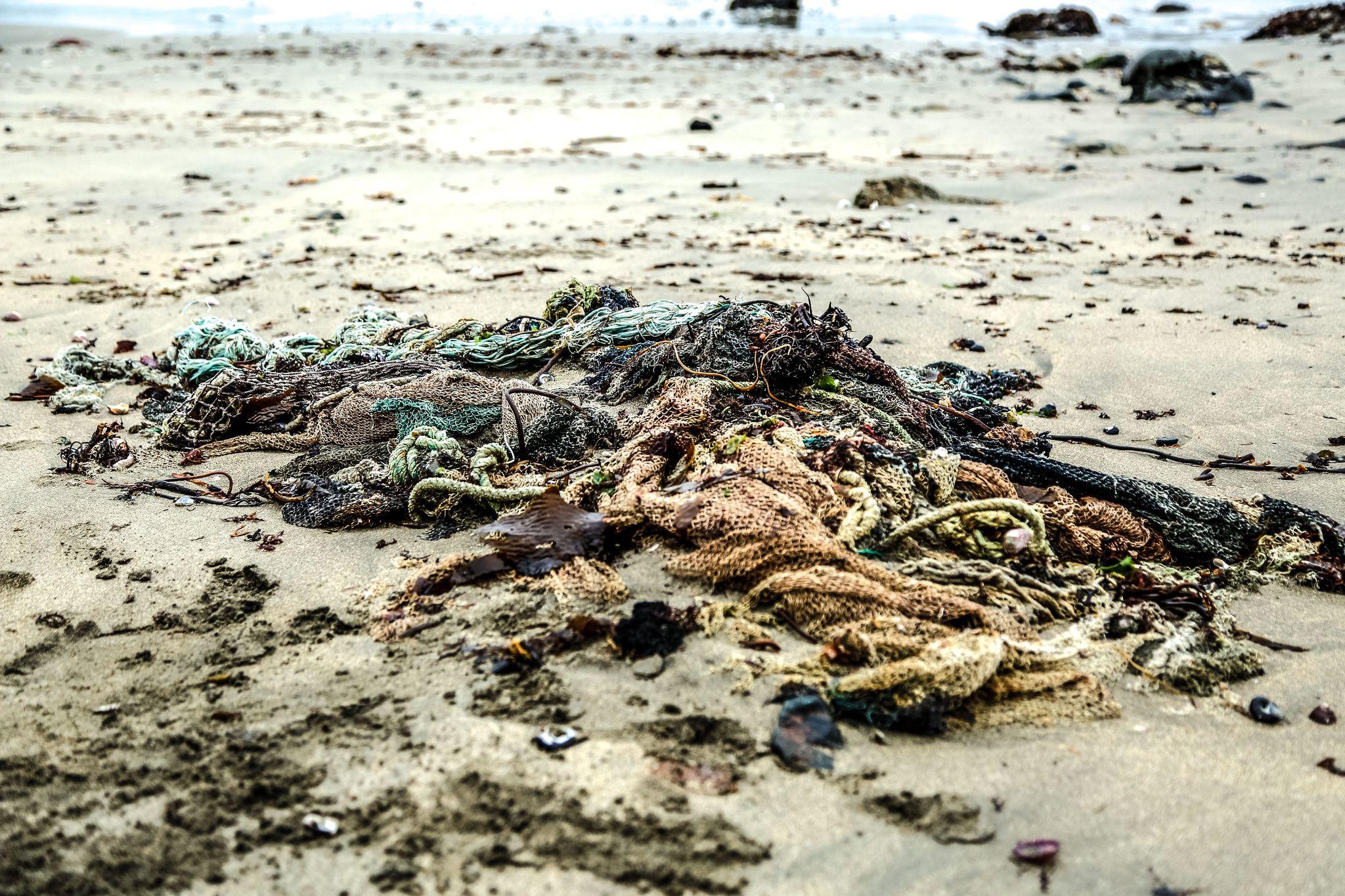 Desechos de redes de pescar en una playa