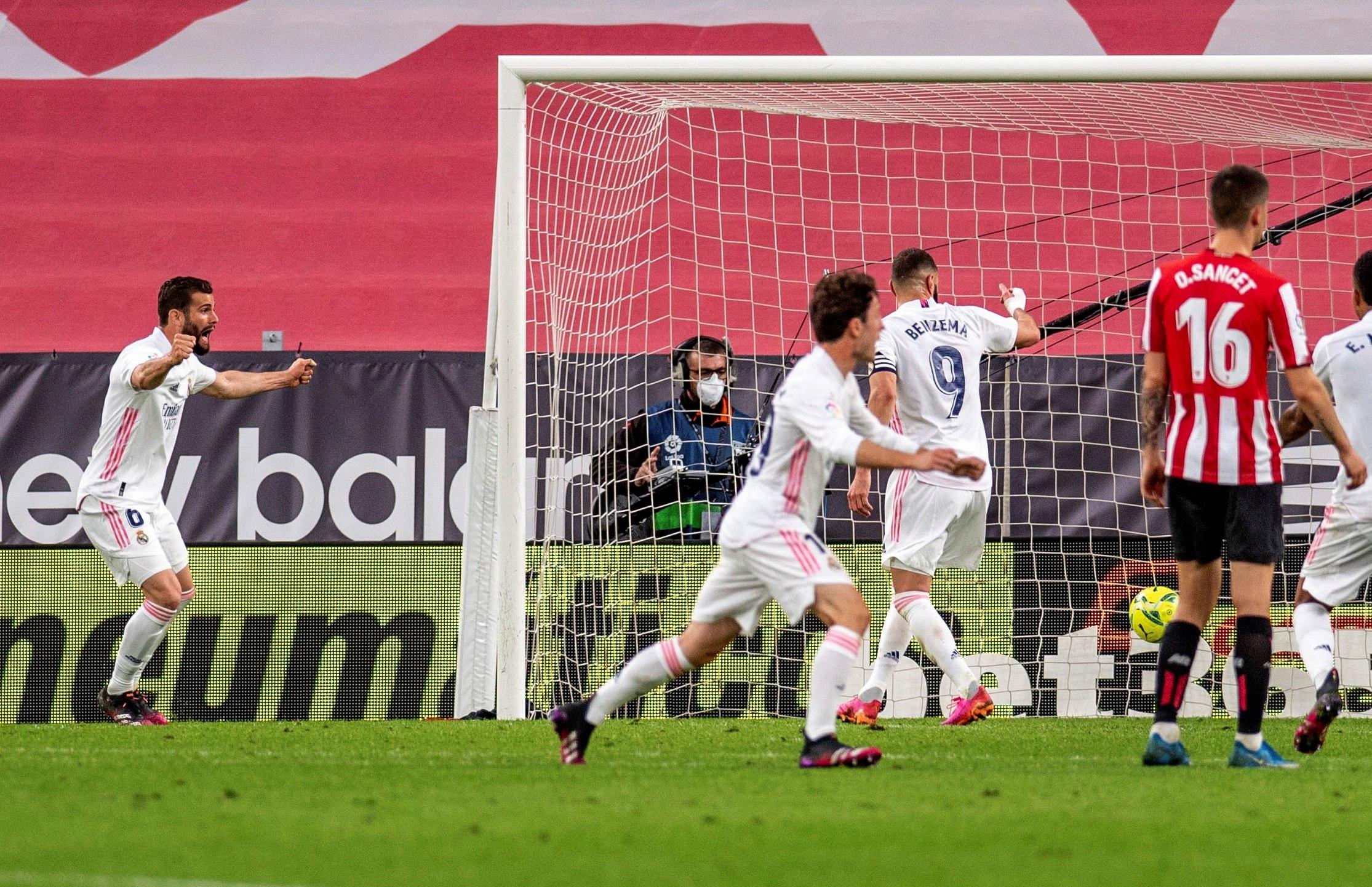 Nacho festeja el gol del triunfo del Madrid en San Mamés.