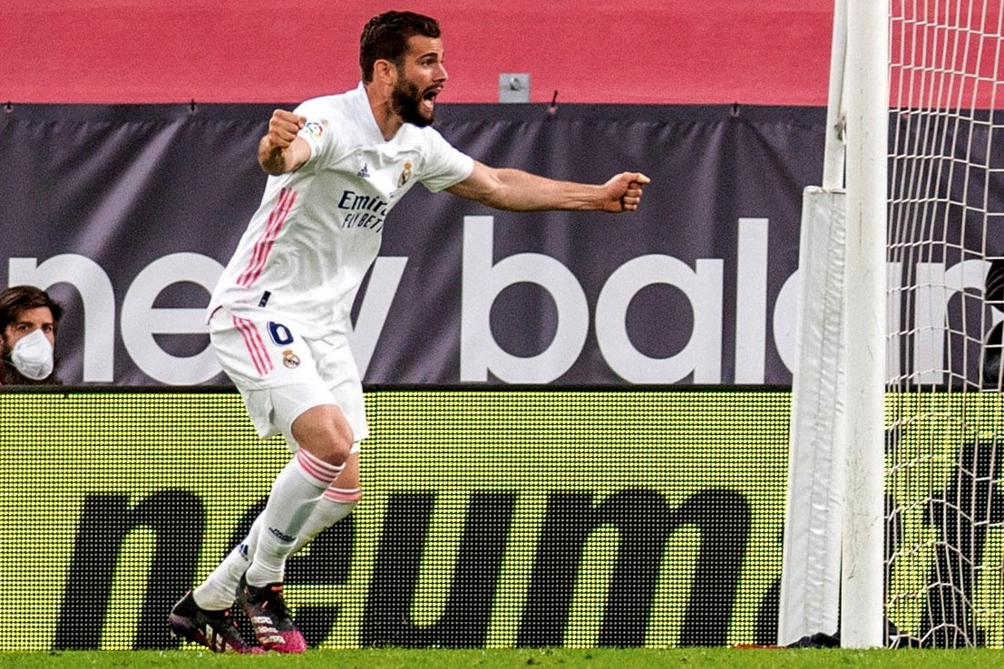Nacho, tras anotar el gol del triunfo en San Mamés.