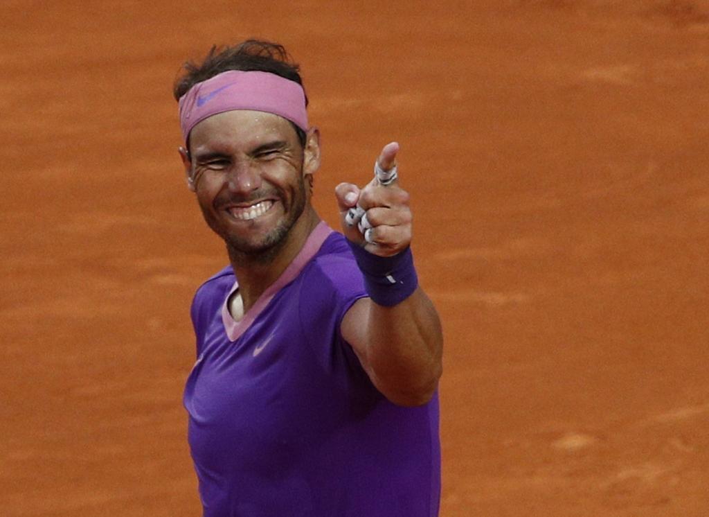 Rafa Nadal celebra su victoria ante Djokovic.
