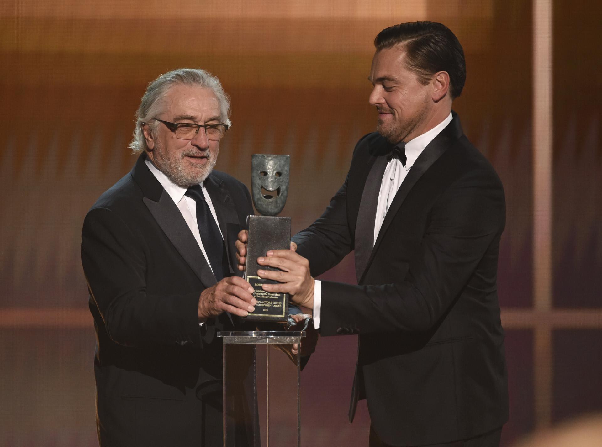 Con Leonardo DiCaprio, otro de los protagonistas del filme.