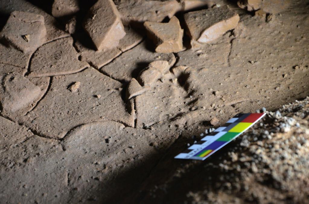 Huellas de pie de niños en la cueva cántabra de La Garma.