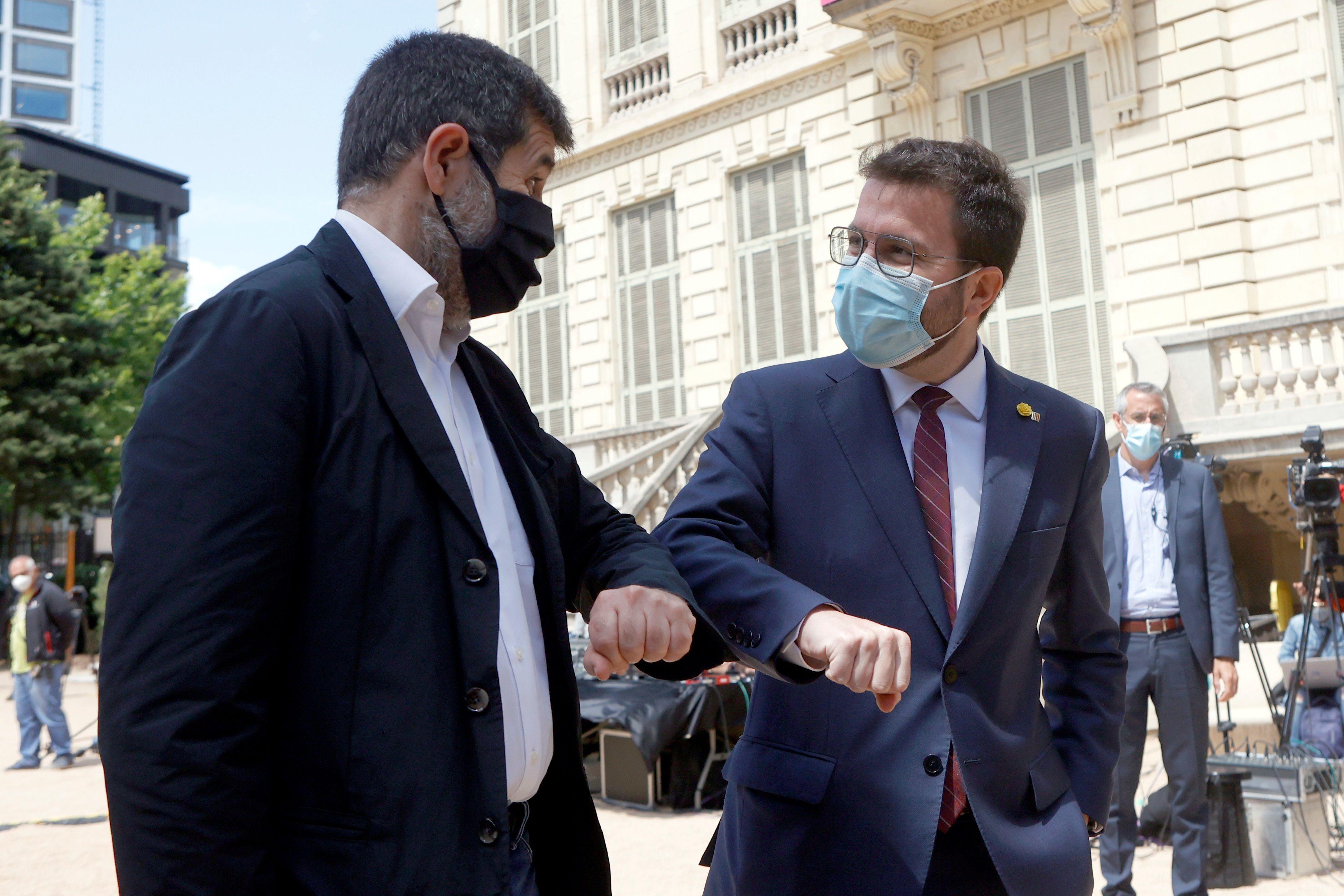 Jordi Sánchez (JxCat) y Pere Aragonès (ERC). EFE/Quique García