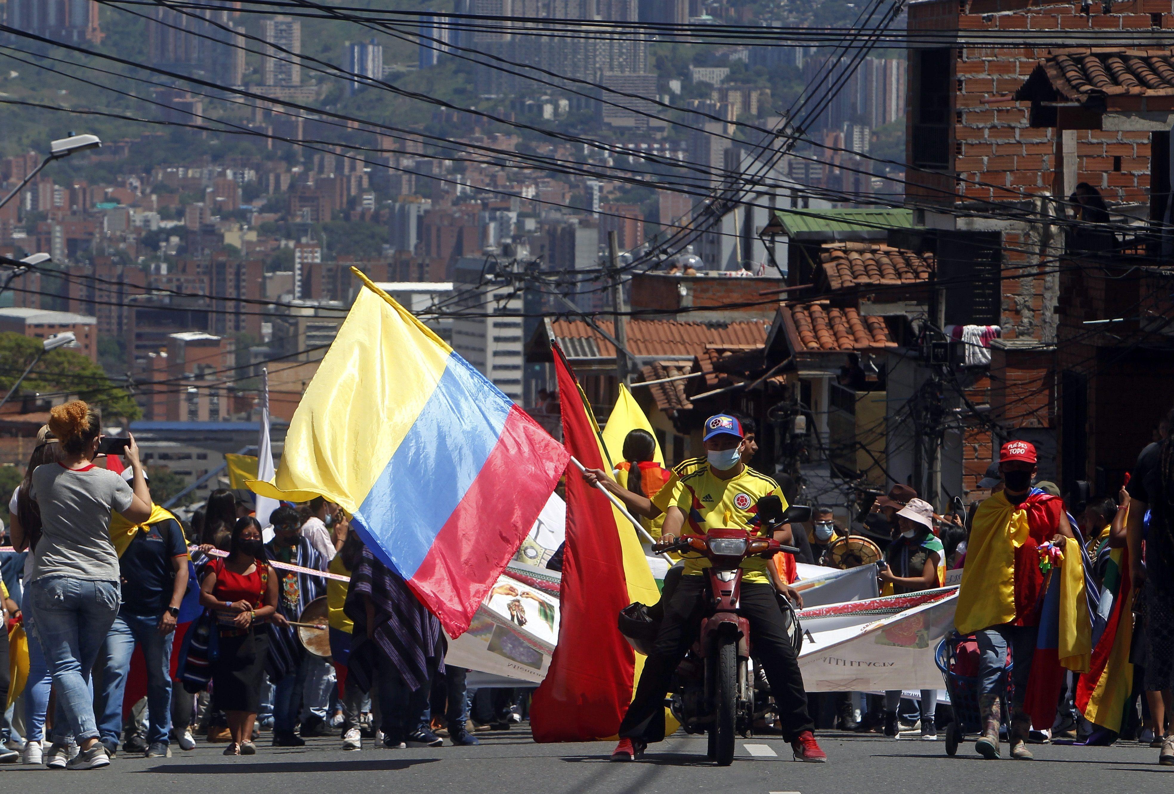 Manifestaciones en Medellín, este miércoles.
