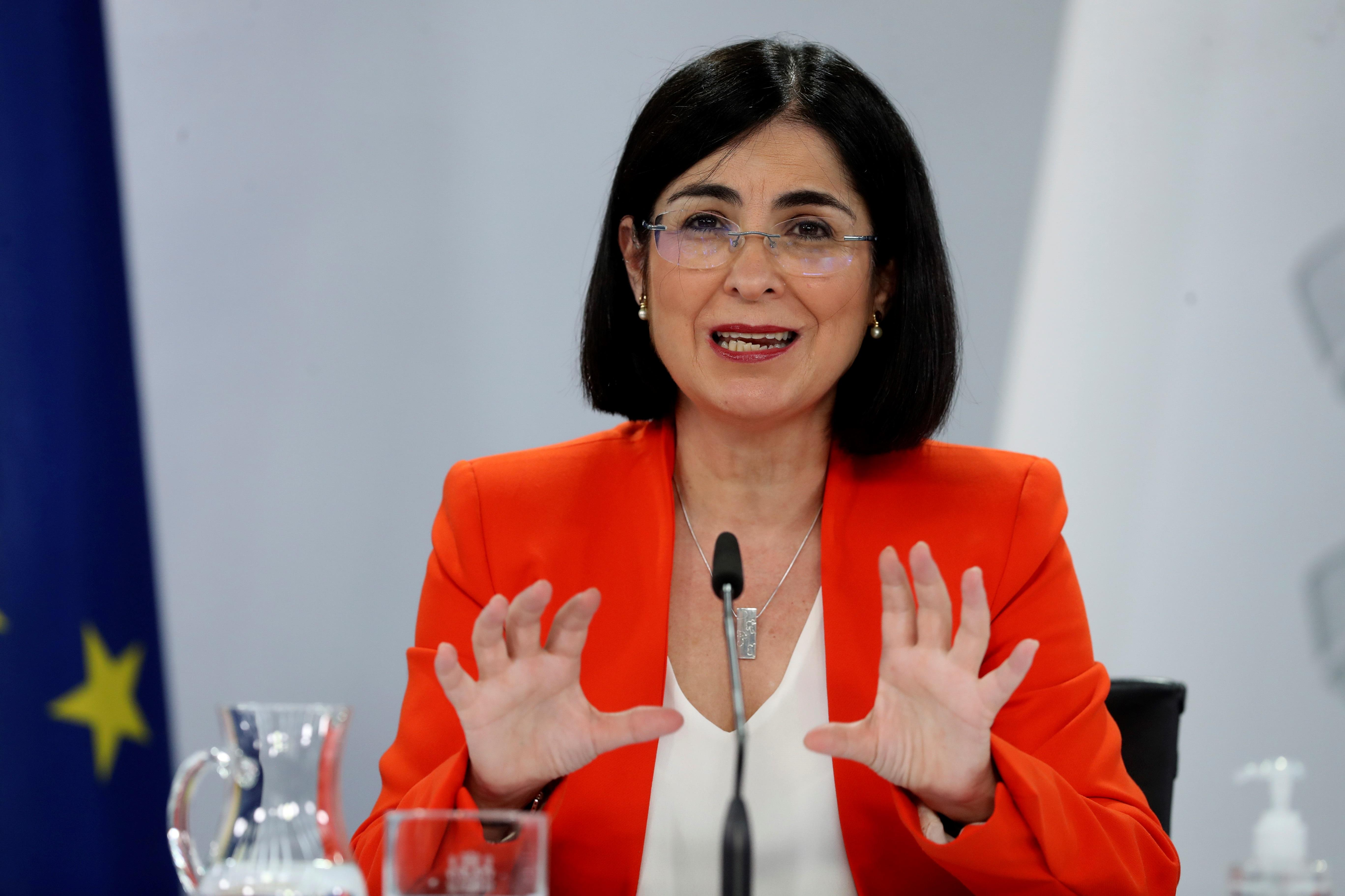 La ministra de Sanidad,  Carolina Darias, durante la rueda de prensa tras el último Consejo Intererritorial.