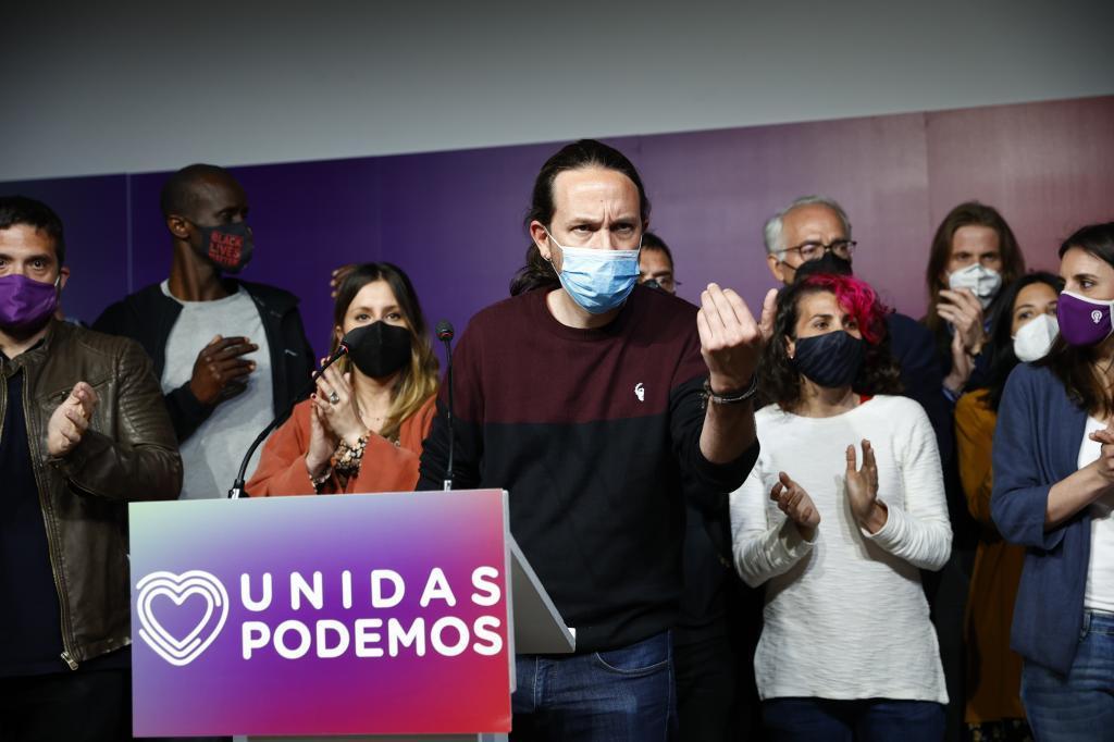 Pablo Iglesias, al anunciar su despedida de la política tras el 4-M.