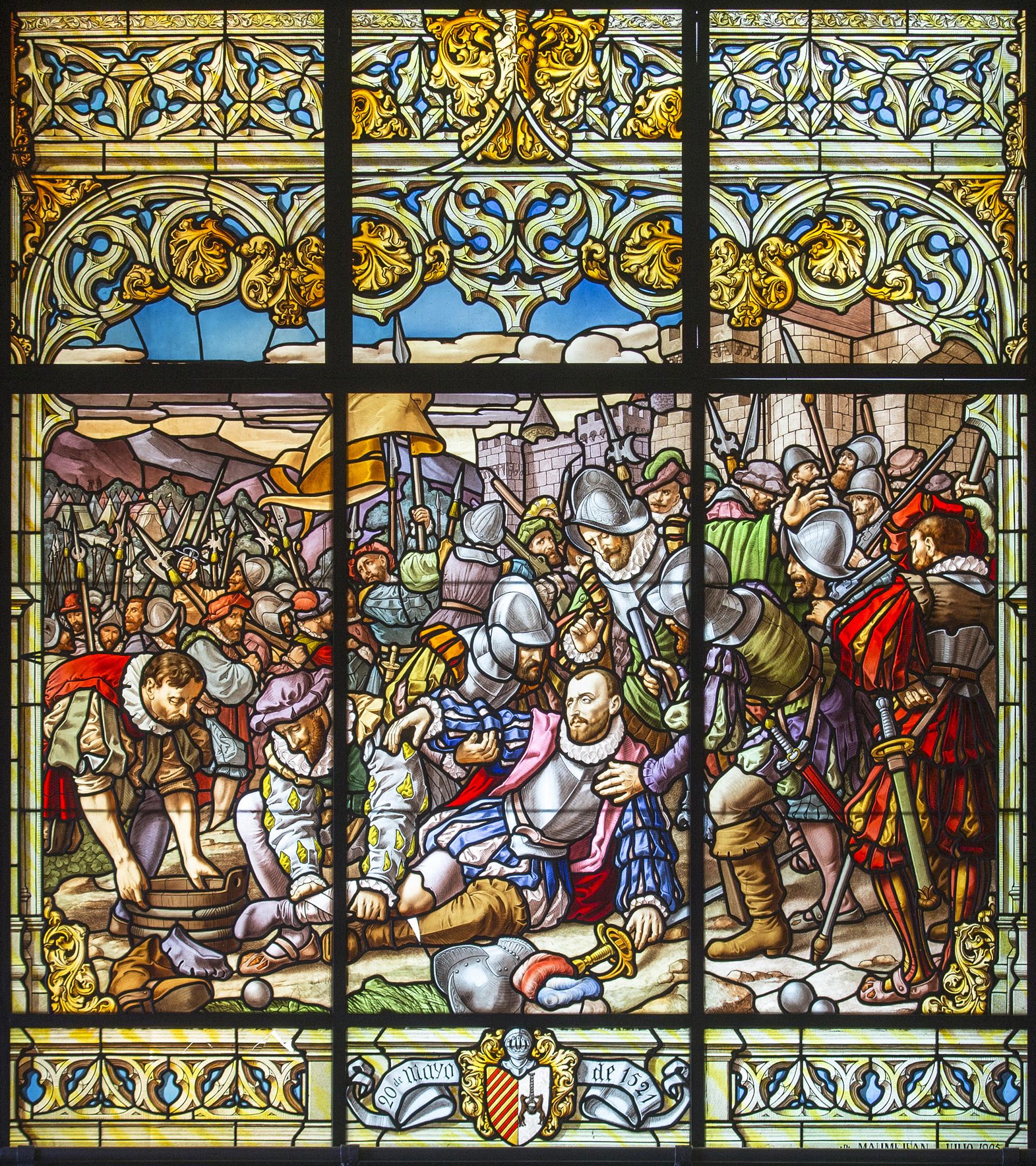 Vidriera de Loyola que recrea la herida de Íñigo López