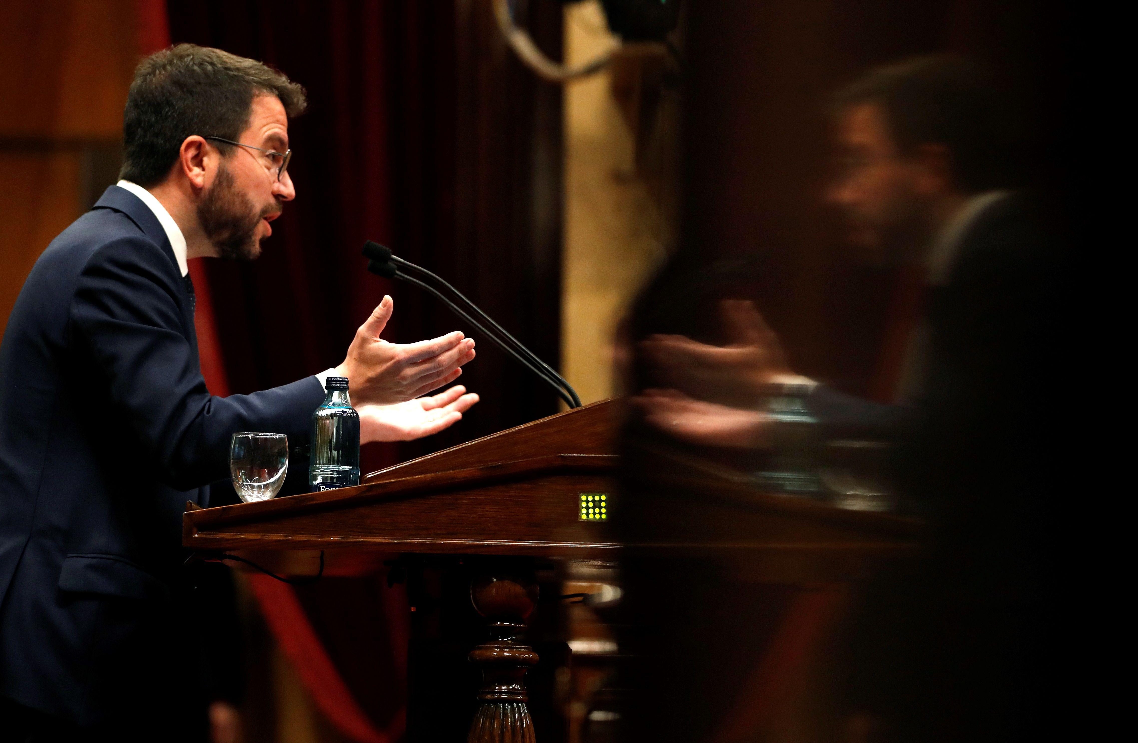 Pere Aragonès, este jueves en el Parlament.