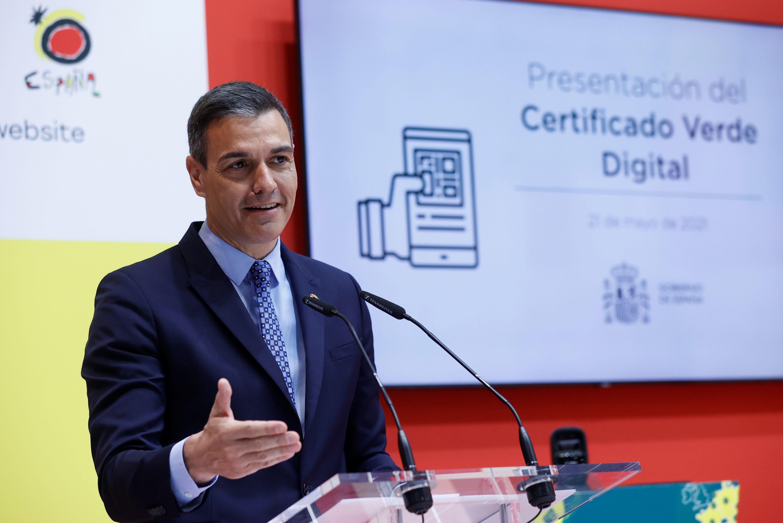 El presidente del Gobierno, Pedro Sánchez, durante la presentación del certificado verde digital en Fitur