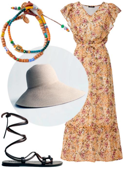 Pack de dos pulseras (9,95 ¤), de Zara. Vestido de flores teñido con la técnica eco Dope Dyed (9,99 ¤), de Esmara para Lidl. Sombrero (35 ¤), de & Other Stories. Sandalias de tiras (29,99 ¤), de Mango.