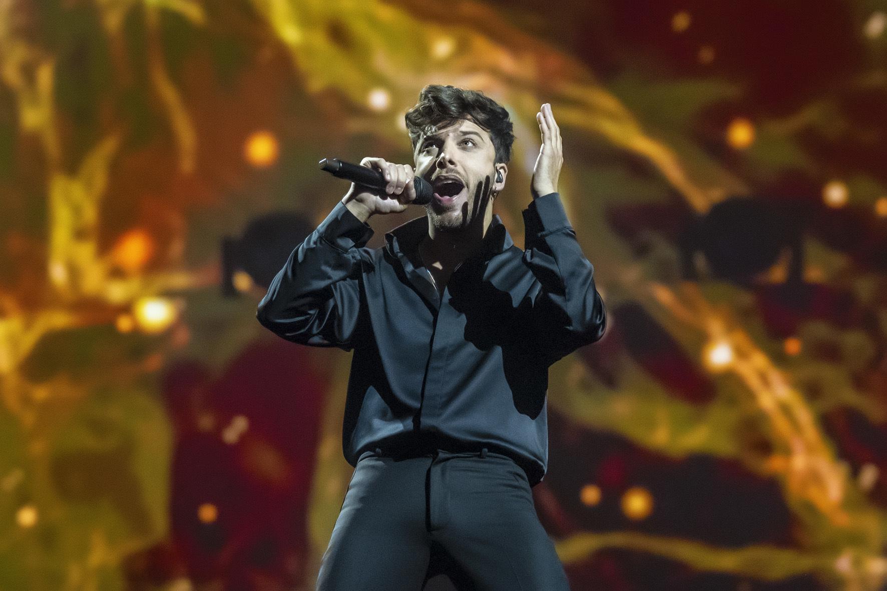 Blas Cantó, durante un ensayo de Eurovisión