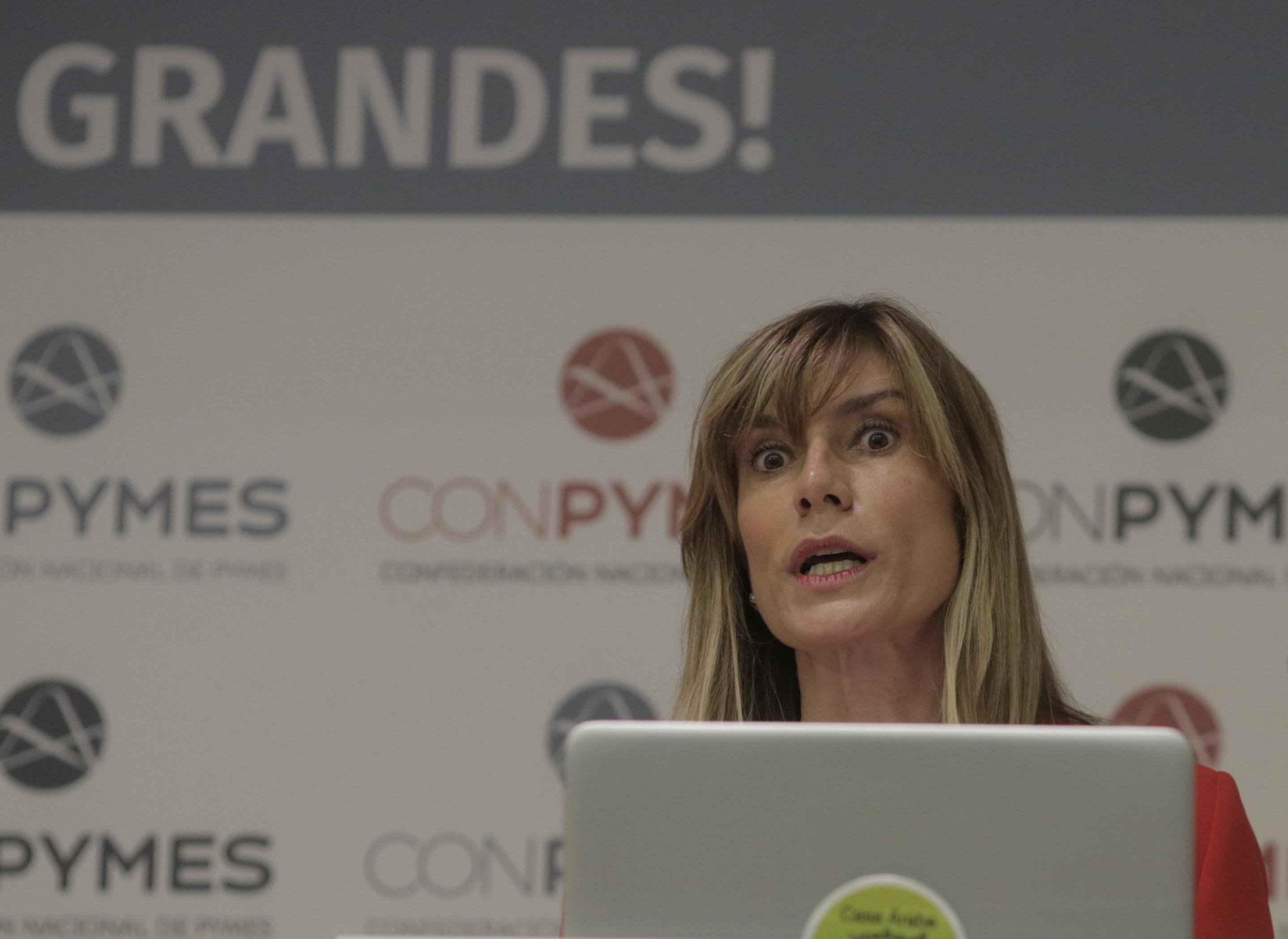 Begoña Gómez, esposa del presidente del Gobierno, este viernes en el lanzamiento de Conpymes