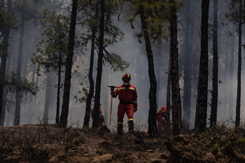 Miembros de la Unidad Militar de Emergencias UME participan este viernes en las labores de extinción del incendio que afecta desde ayer al municipio tinerfeño de  Arico.