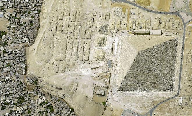 Perspectiva de la pirámide de Giza egipcia.