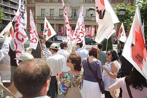 Protesta de sindicatos docentes en una imagen de archivo.