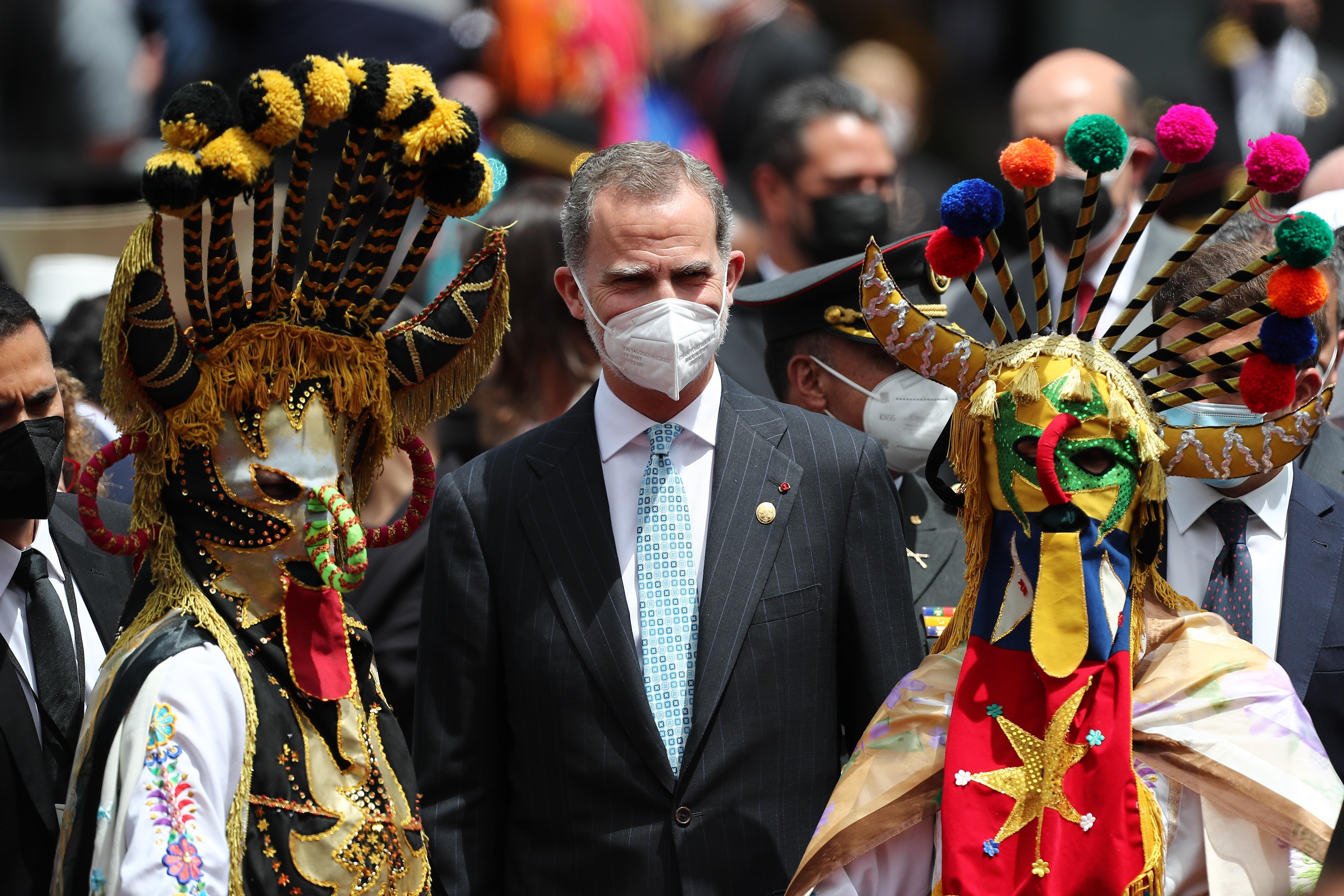 Felipe VI asiste a la investidura de Guillermo Lasso, este lunes, en Quito.