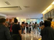 Activistas en la sede de ERC