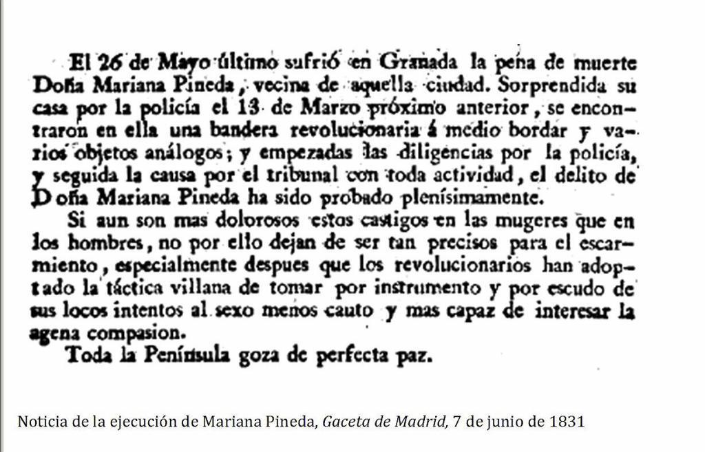Noticia de la ejecución de Pineda, publicada en La Gazeta de Madrid el 7 de junio de 19831.