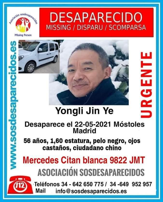 Cartel de SOS Desaparecidos de uno de los fallecidos.